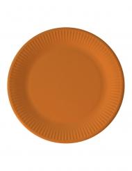 8 Assiettes en carton orange 23 cm