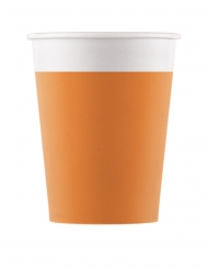8 Gobelets en carton orange 200 ml