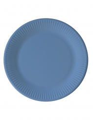 8 Assiettes en carton compostable bleu clair 23 cm