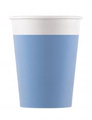 8 Gobelets en carton compostable bleu clair 200 ml