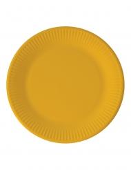 8 Assiettes en carton jaunes 23 cm