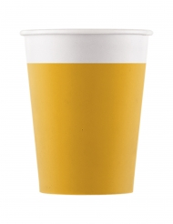 8 Gobelets en carton jaunes 200 ml