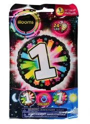 Ballon aluminium chiffre multicolore LED Illooms® 50 cm