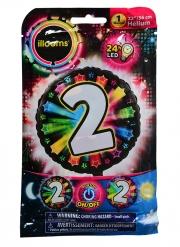 Ballon aluminium chiffre 2 multicolore LED Illooms® 50 cm