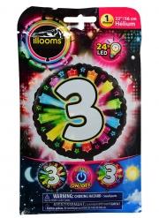 Ballon aluminium chiffre 3 multicolore LED Illooms® 50 cm