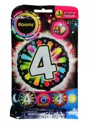 Ballon aluminium chiffre 4 multicolore LED Illooms® 50 cm