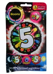 Ballon aluminium chiffre 5 multicolore LED Illooms® 50 cm