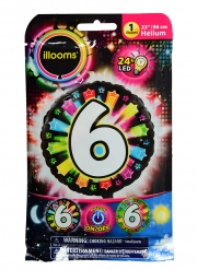 Ballon aluminium chiffre 6 multicolore LED Illooms® 50 cm