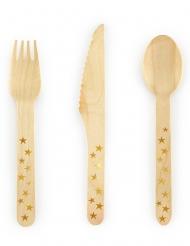 18 Couverts en bois étoiles dorées 16 cm