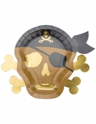 8 Assiettes en carton Pirate kraft et dorure 26 x 33 cm