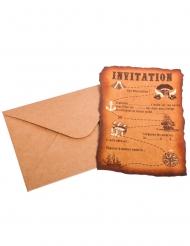8 Invitations avec enveloppes carte au trésor Pirate kraft 10 x 15 cm