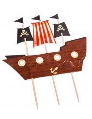 Décoration sur pic bateau pirate 17,5 x 21 cm