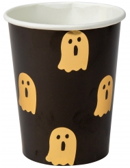 8 Gobelets en carton petit fantôme noir et or 255 ml
