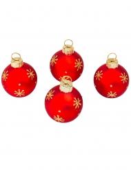 4 Marque-places boule de Noël rouge et or 5 cm