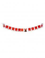 Guirlande 13 fanions Joyeux Noël rouge, blanc et or 12,7 x 17,8 cm x 2 m