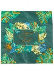 16 Serviettes en papier jungle Joyeux Noël vert et or 33 x 33 cm