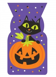 20 Sachets plastique violets chat et citrouille 13 x 23 cm