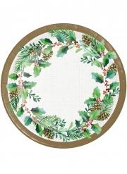 8 Petites assiettes en carton couronne de houx 18 cm