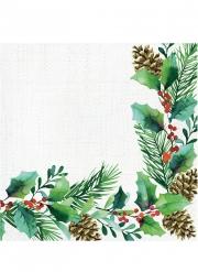 16 Serviettes en papier couronne de houx 33 x 33 cm