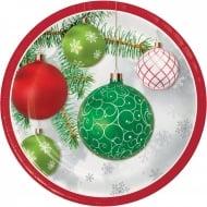 8 Assiettes en carton boules de Noël rouges et vertes 23 cm