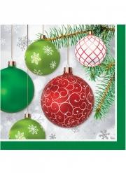 16 Serviettes en papier boules de Noël rouges et vertes 33 x 33 cm
