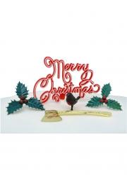 Kit décoration bûche Merry Christmas 5 pièces 3-9 cm