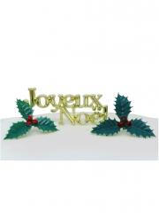 Kit décoration bûche Joyeux Noël 3 pièces 4-7,3 cm