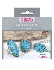 Kit création de bijoux parure pierres turquoises 12,5 x 13 cm
