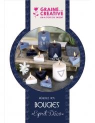 Kit création de bougies géométriques blanches et bleues