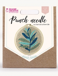 Kit de broderie Punch needle feuillage 20 cm