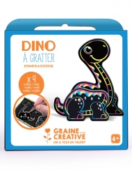 Boîte 4 animaux à gratter 3D Dino 15 x 14,5 cm