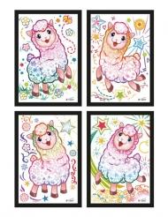 4 Cartes à gratter Lama 10 x 16 cm