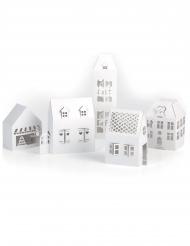 5 Maisons blanches à monter en papier kraft