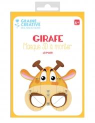 Masque 3D à monter en carton Girafe 16 x 23 cm