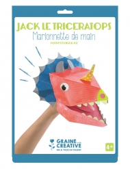 Marionnette de main en carton Jack le tricératops 20,5 x 29 cm