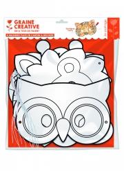6 Masque plats à décorer en carton Animaux