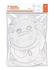 6 Masques plats à décorer en carton Petits animaux