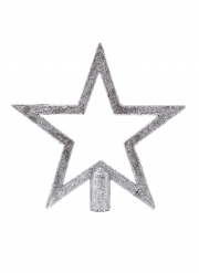 Etoile pour sapin à paillettes argentées 20 cm