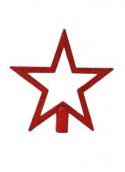 Etoile pour sapin à paillettes rouges 20 cm
