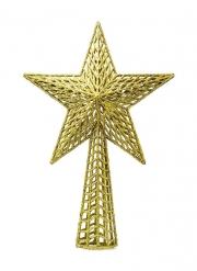 Cimier de sapin étoile dorée pailletée 27 cm