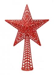 Cimier de sapin étoile rouge pailletée 27 cm