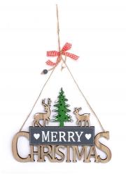 Suspension en bois Merry Christmas 17 x 23 cm
