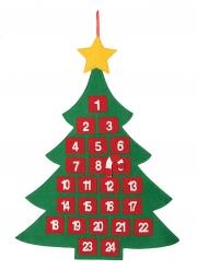 Calendrier de l'avent en tissu sapin de Noël 55 x 70 cm