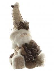 Père Noël assis en écorce bois 34 cm