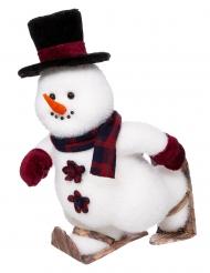 Décoration bonhomme de neige sur patins 28 cm