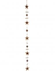 Guirlande naturelle en bois étoiles et pommes de pin 125 cm