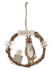 Suspension en bois couronne avec renne et cadeaux 11,5 cm