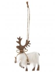 Suspension en bois renne avec fourrure 11 cm couleur aléatoire