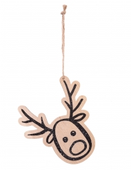 Suspension en bois tête de renne pailletée noire 14 cm