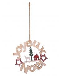 Suspension en bois couronne Joyeux Noël 15 cm